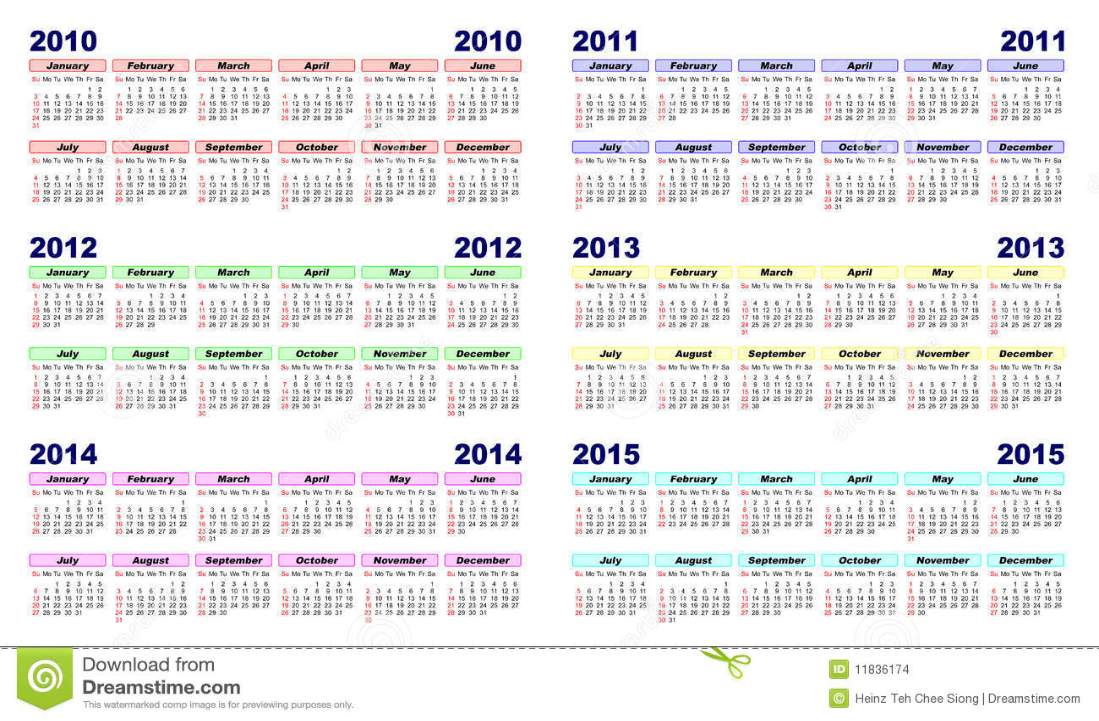 Calendar 2010-2015 Stock Images - Image: 11836174