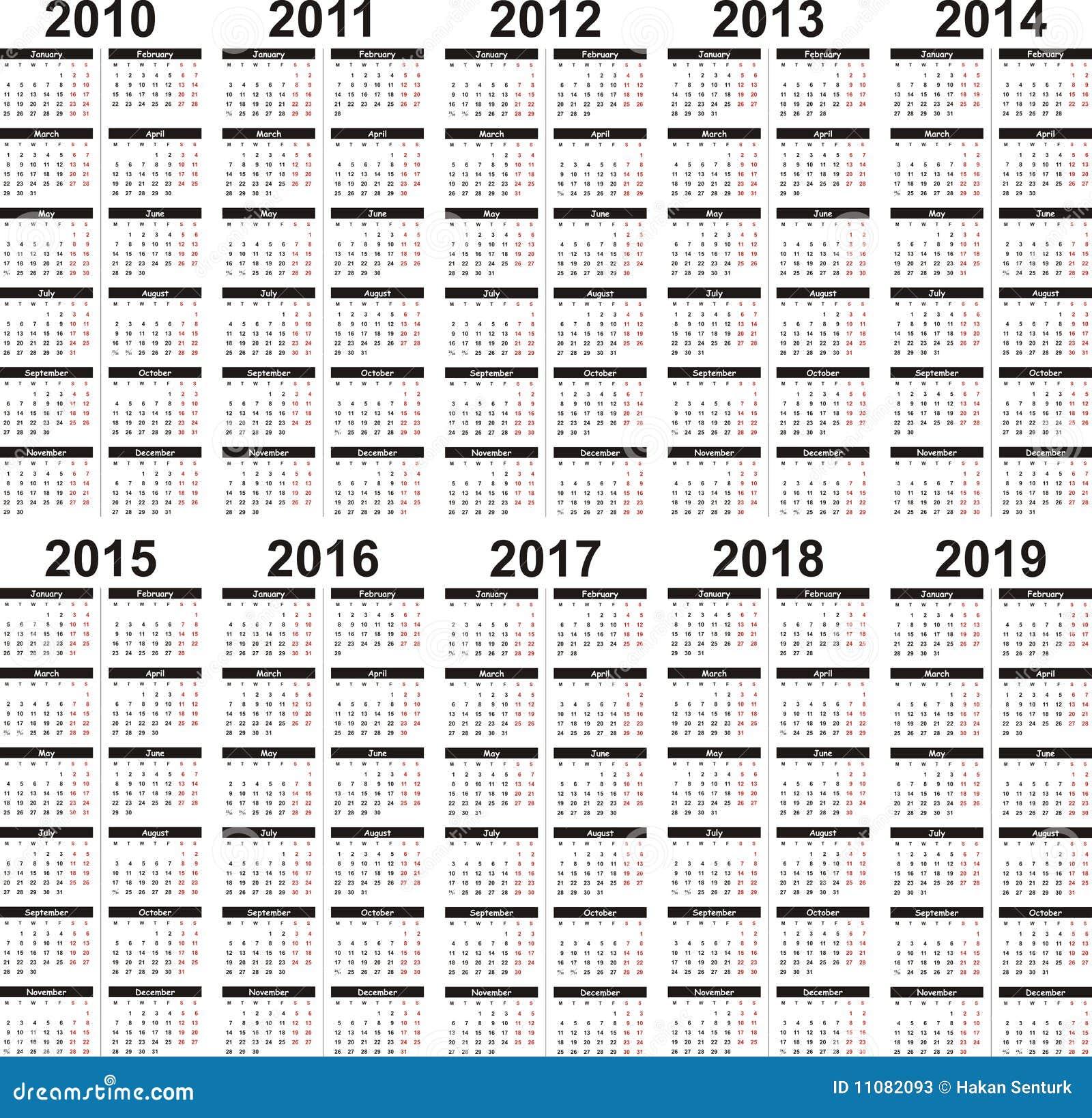 Calendar 2010-2019 Stock Vector. Image Of 2010, Date