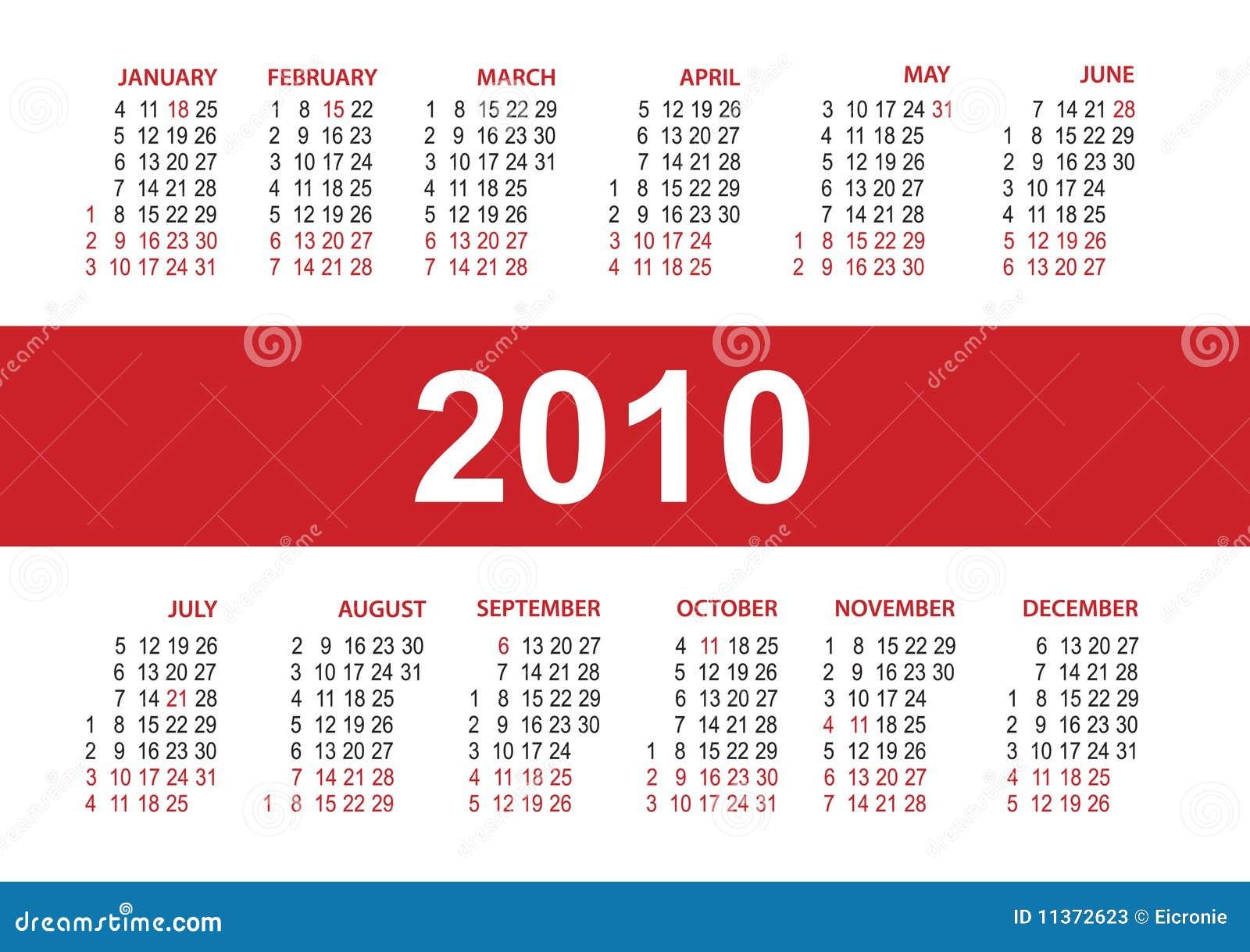 Calendar 2010. Vector Template Stock Photos - Image: 11372623