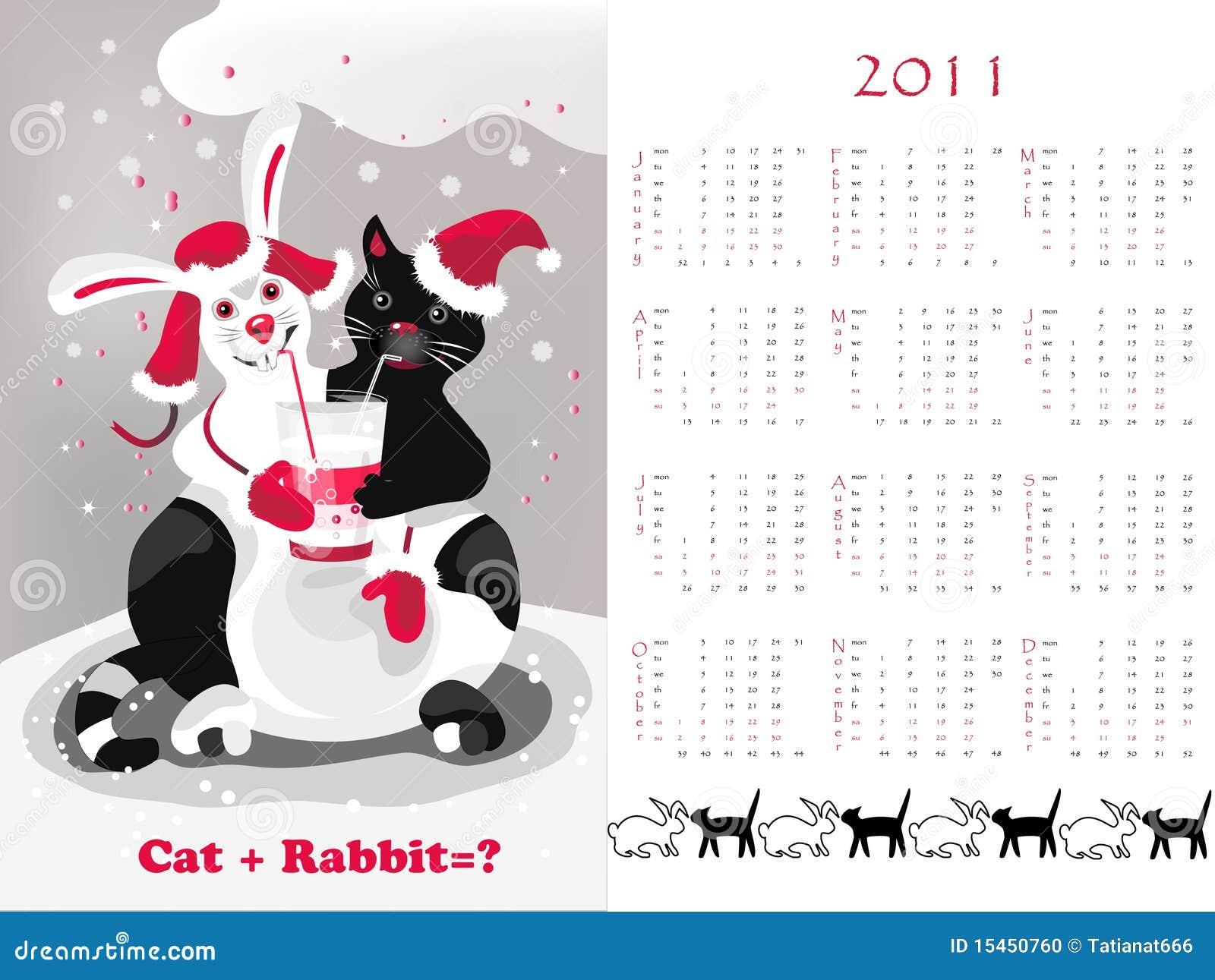 Double Time Kids Calendar : Calendar cat rabbit stock photo image
