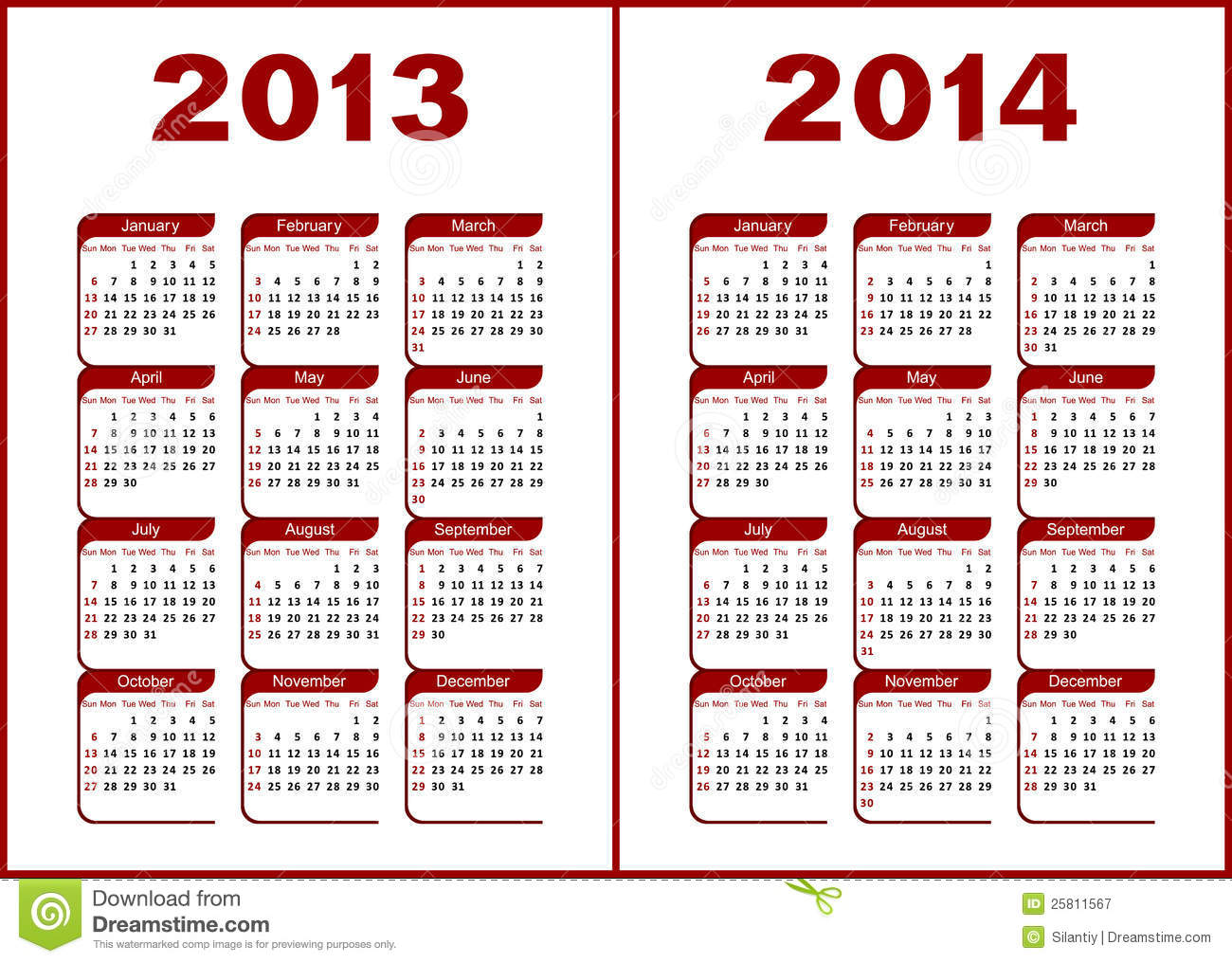 Calendar for 2013,2014.Red letters and figures on a white background.