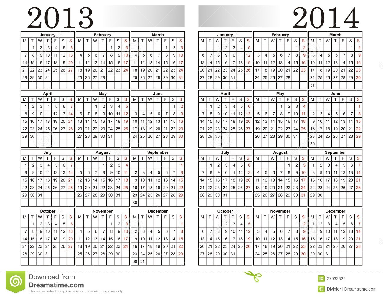 Calendar 2013 2014 Stock Vector Image Of Vector Months