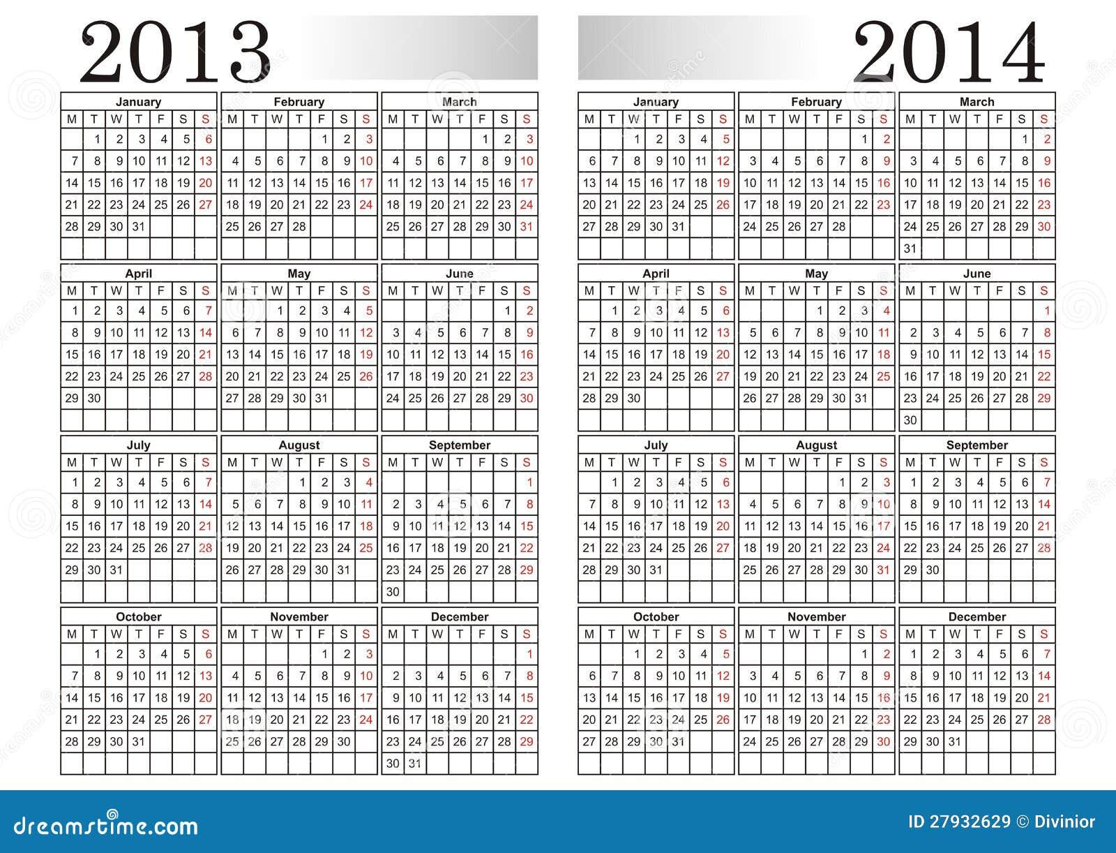 calendar 2013 2014 stock vector image of vector months 27932629. Black Bedroom Furniture Sets. Home Design Ideas