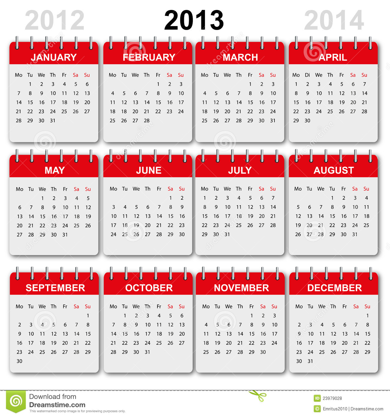 Calendar 2013 English Royalty Free Stock Photos Image