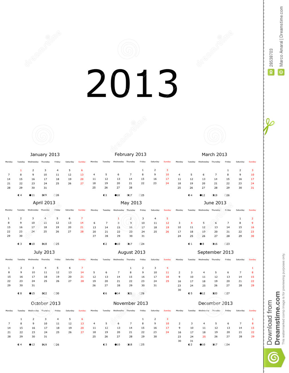 calendar 2013 with moon phases stock photos image 28538703