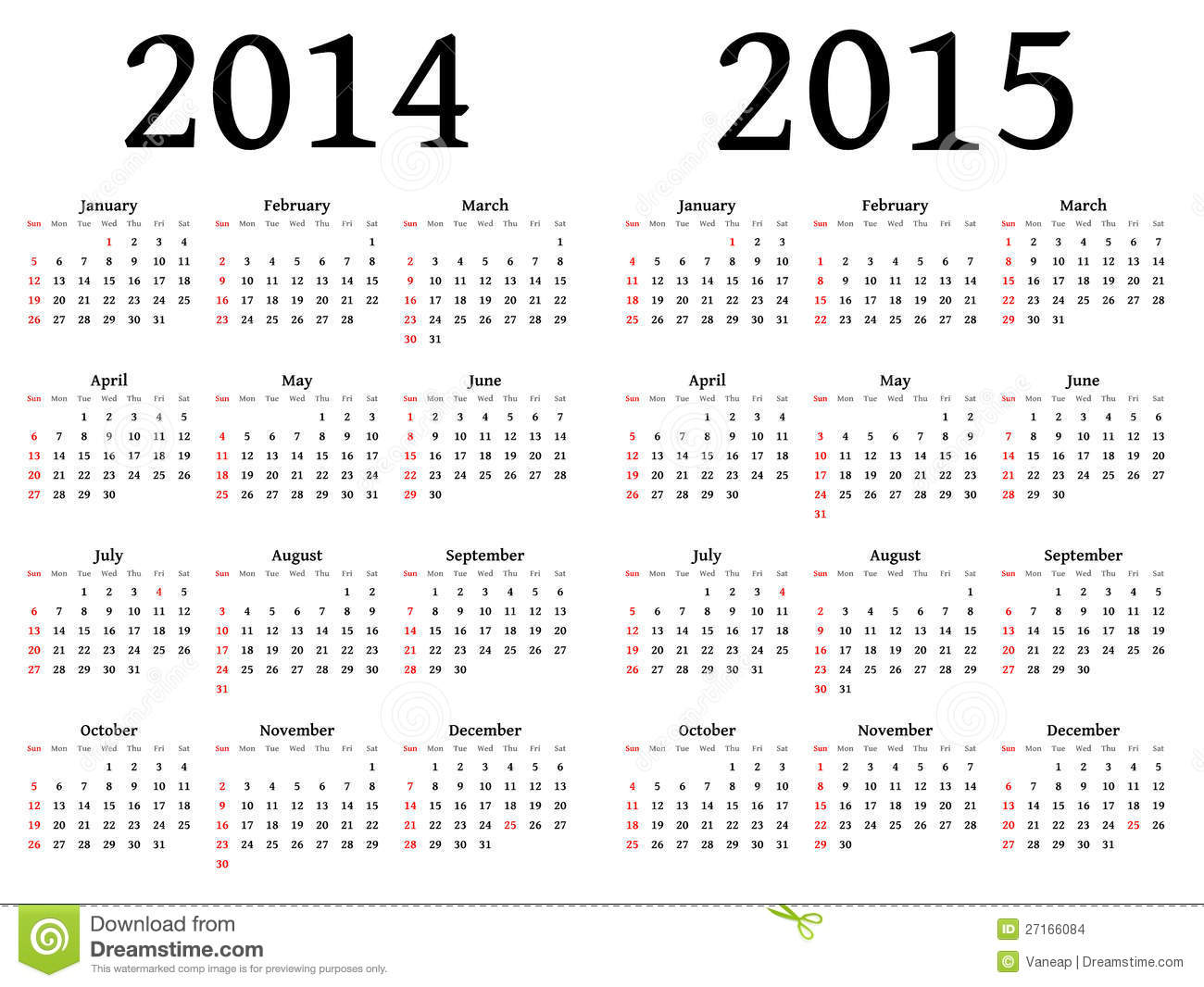 Calendar For 2014 And 2015 In Vector Stock Vector