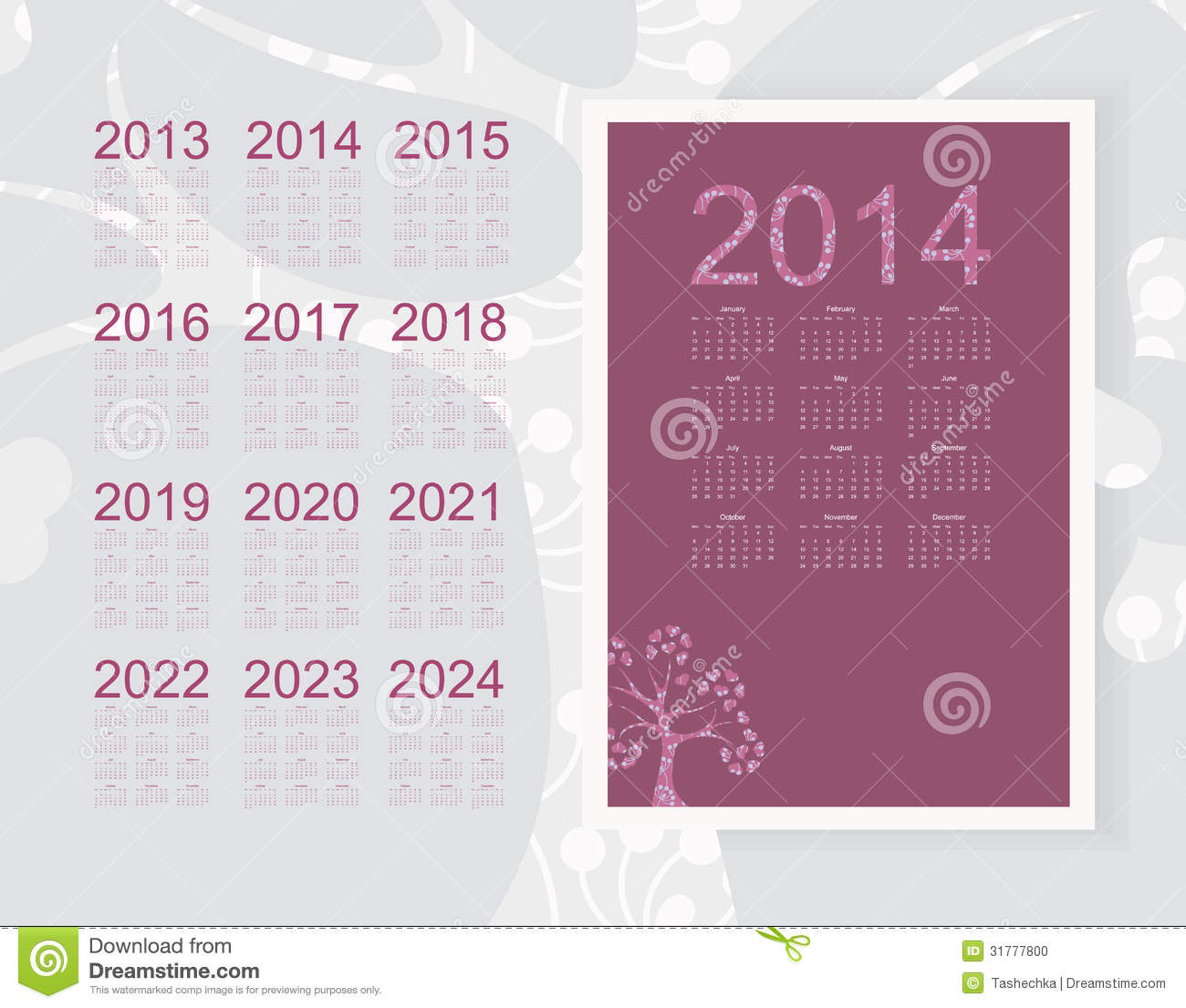 Free Calendar 2014 And 2020 Calendar 2014 stock vector. Illustration of 2022, 2016   31777800