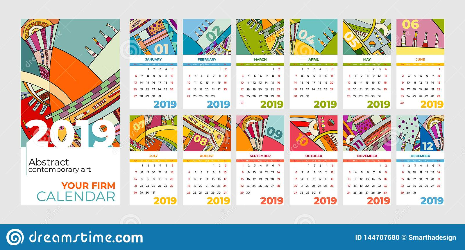 2019 calendar abstract contemporary art  set. Desk, screen, desktop months 2019, colorful 2019 calendar template
