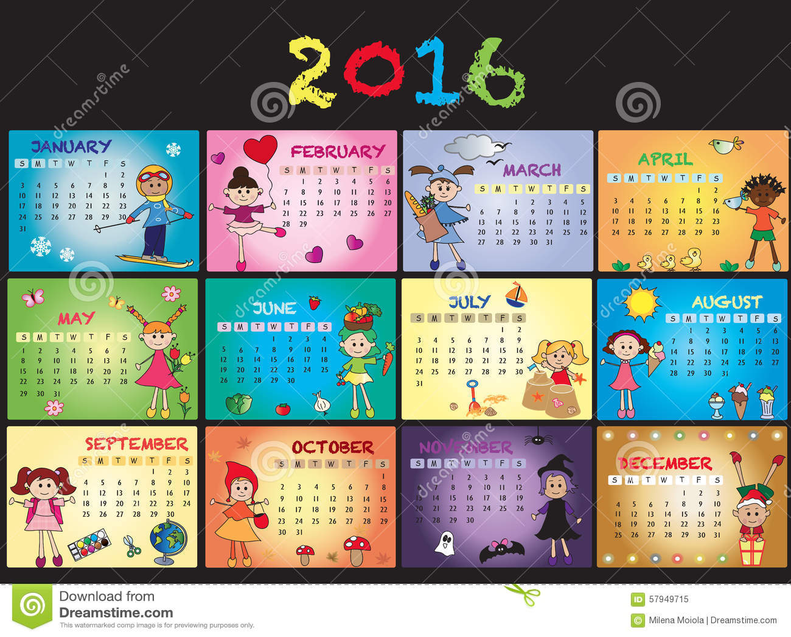 Calendar 2016 Stock Illustration - Image: 57949715