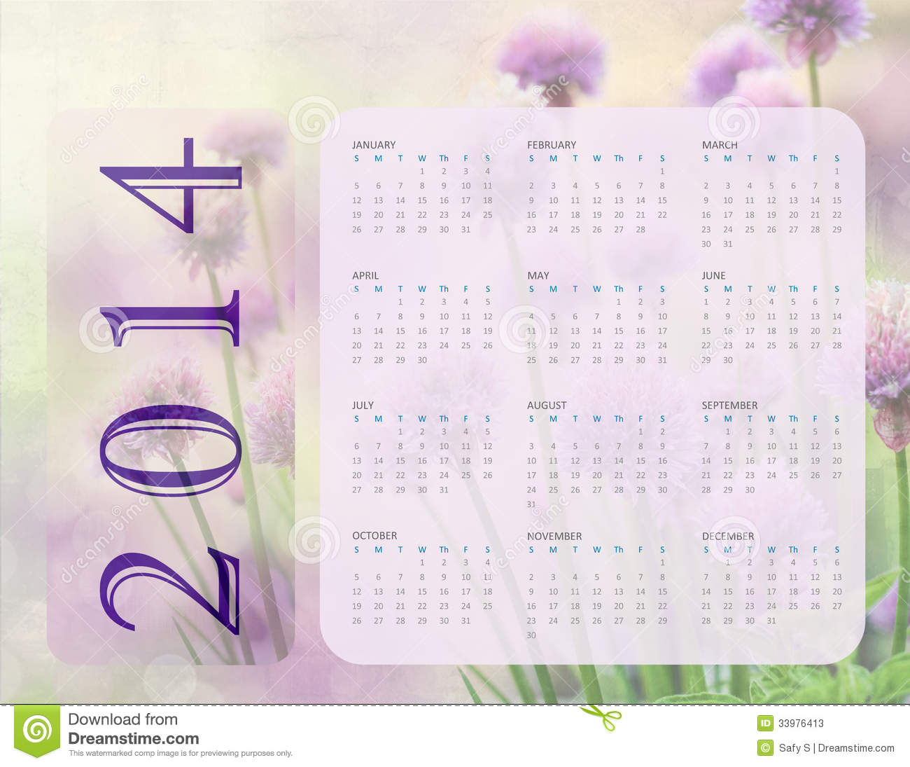 August 2014 Cpo Offers Table Jpg: 2014 Calendar Stock Photos