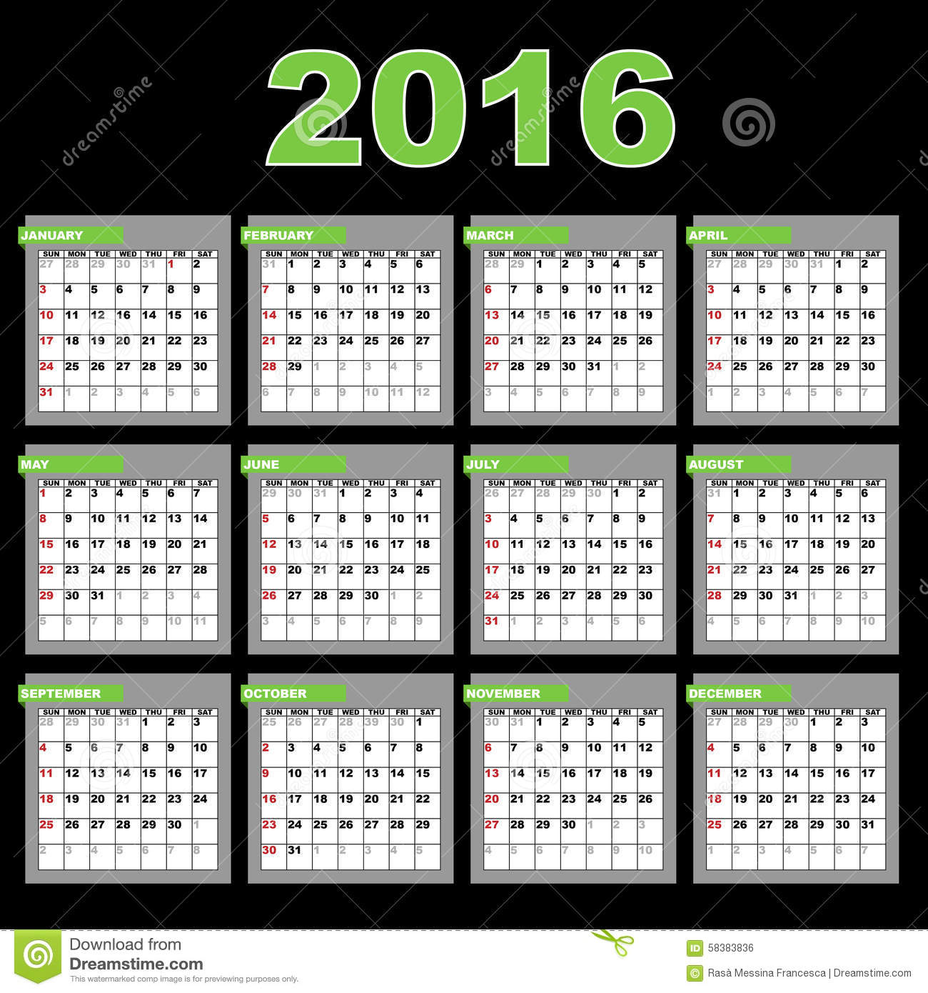 2016 annual calendar template for your design and projects,isolated ...
