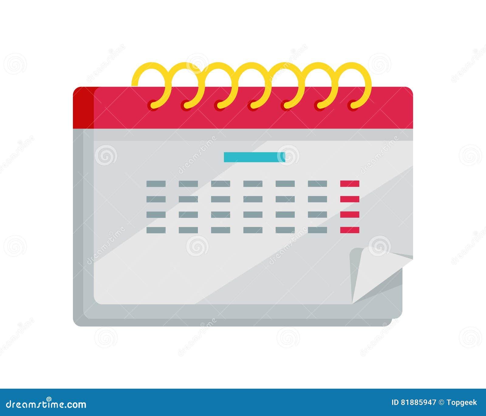 Calendar App Icon In Flat Design Web Organizer Stock Vector