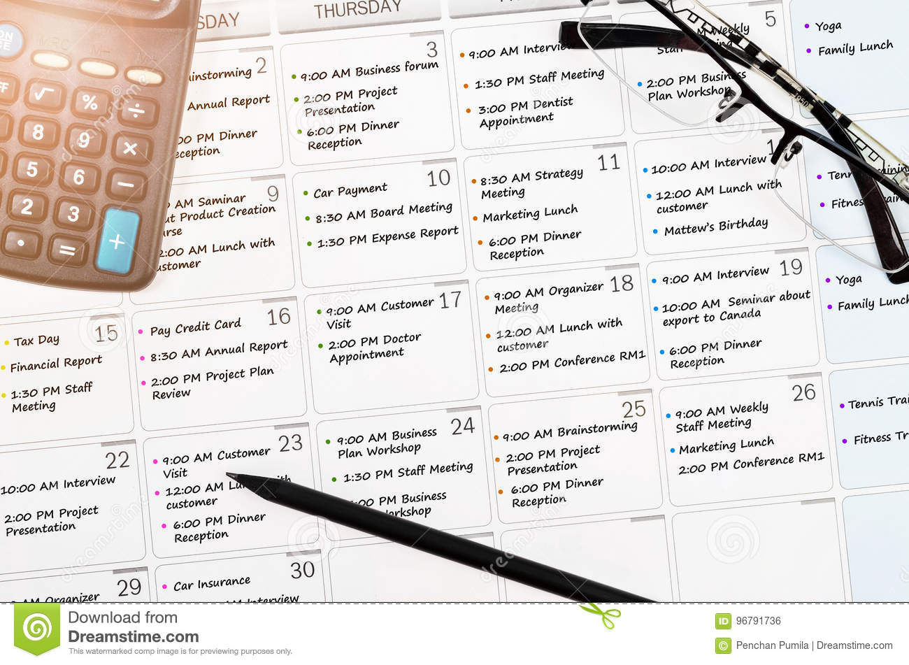calendar appointment with busy day stock photo image of concepts