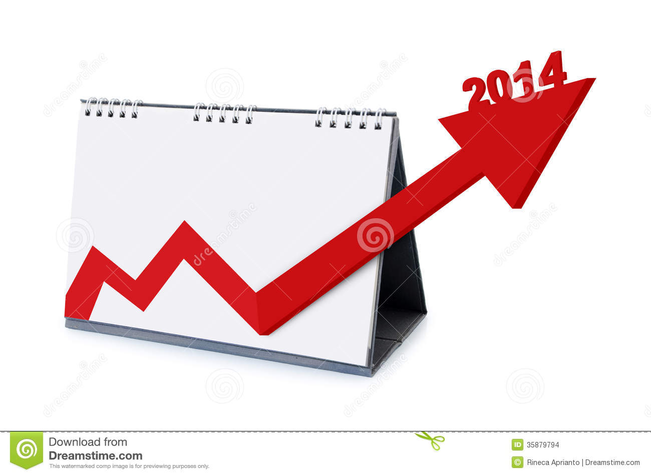 calendar with arrows increasing growth in 2014 stock