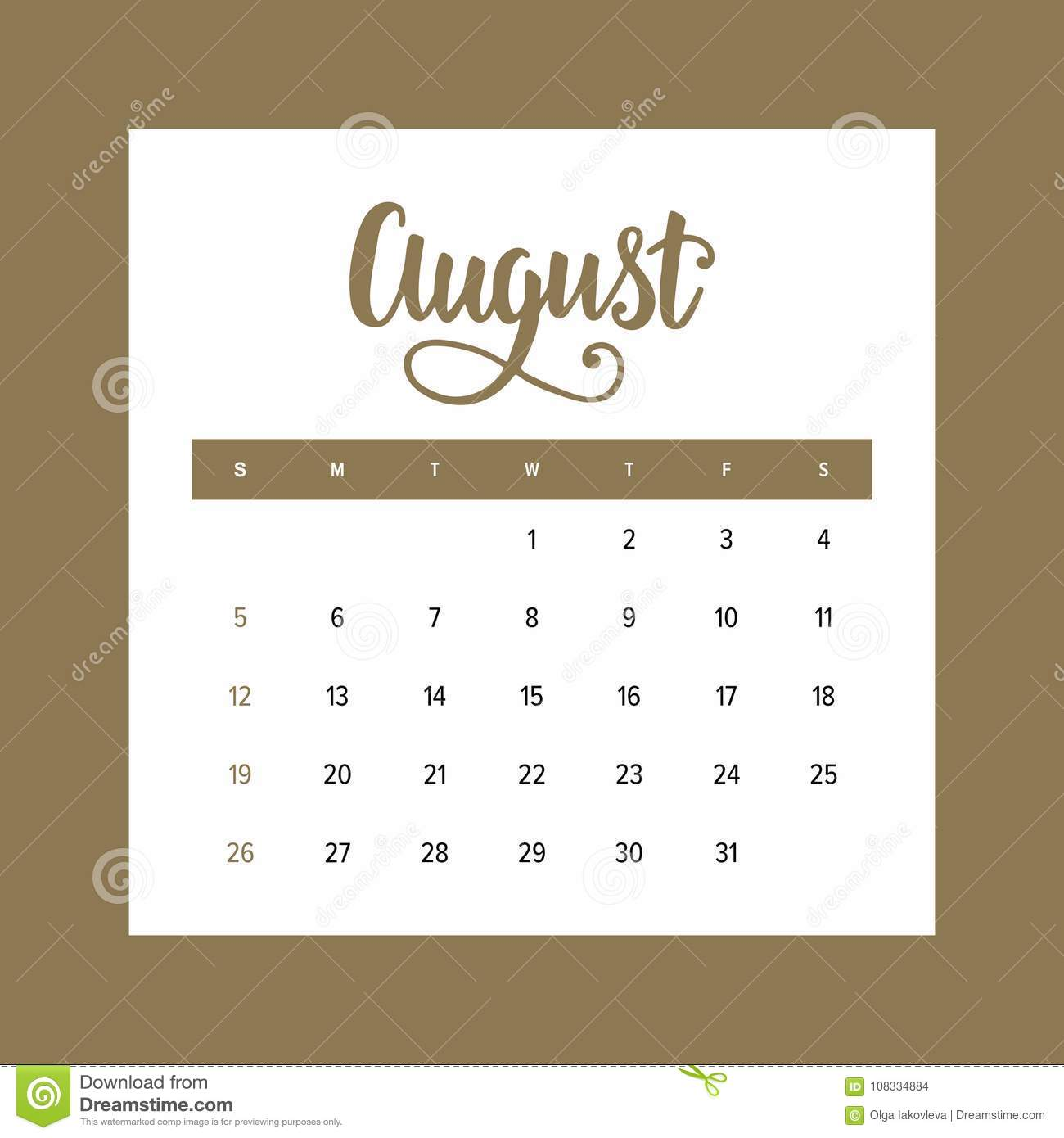 Calendar 2018 August  One Month Of The Year Elegant Design