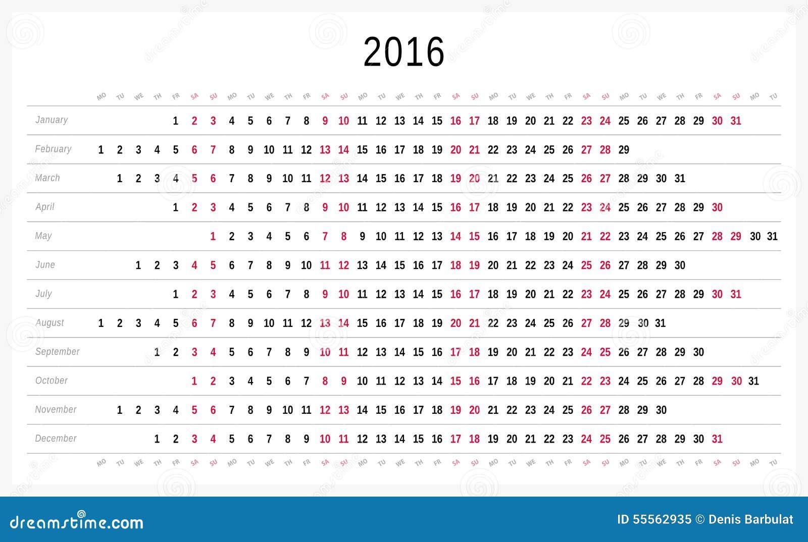 calendar 2016 stock vector  illustration of date  planner