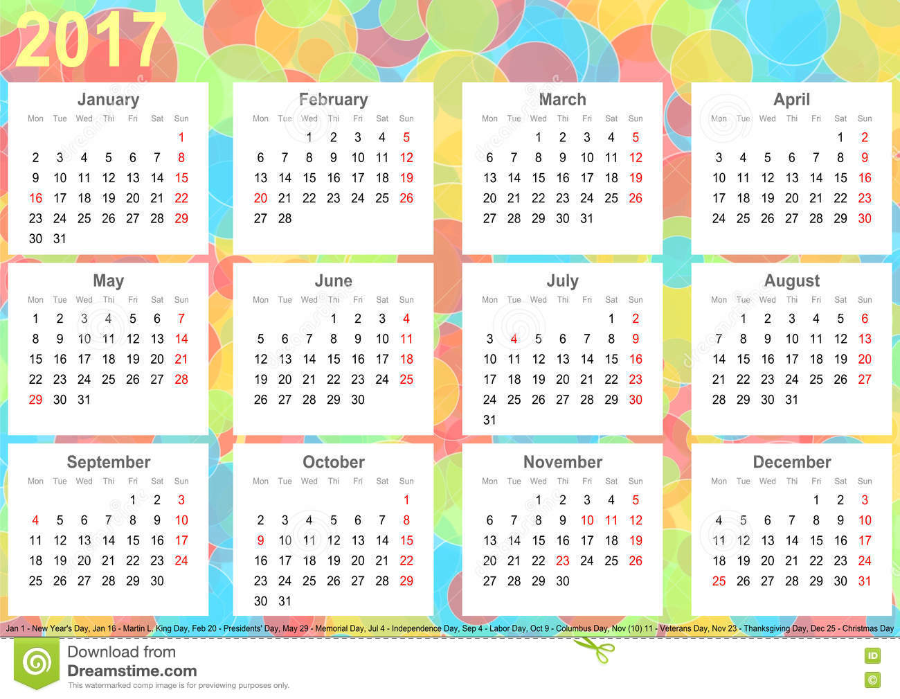 Monthly Calendar Usa : Calendar background colorful circles usa stock