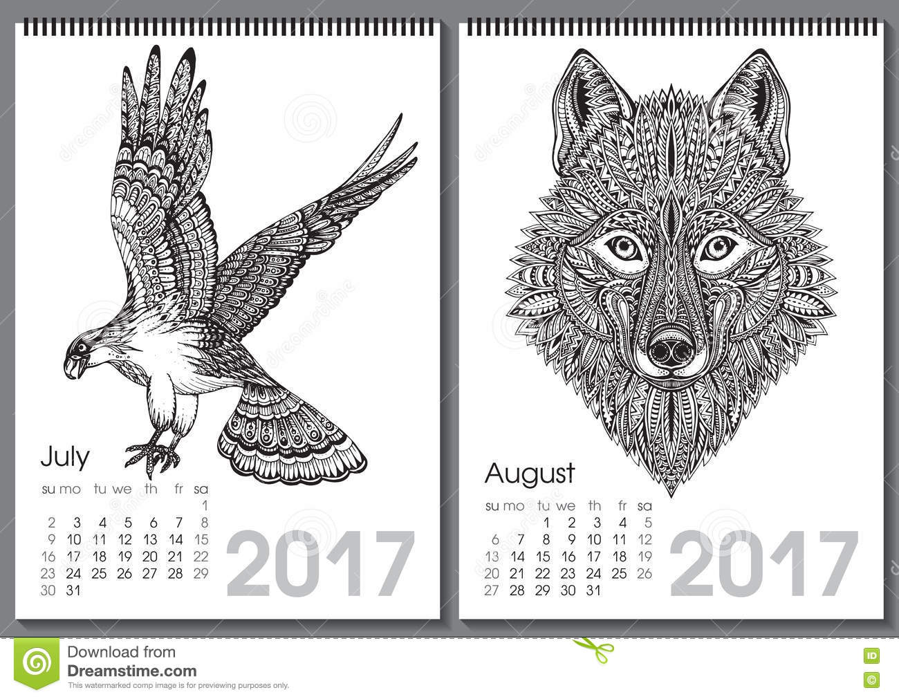 Calendar Month Illustration : Calendar beautiful ornate hand drawn animals stock