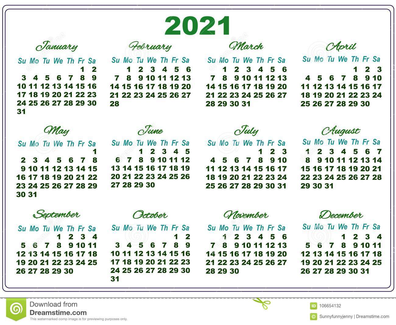 2021 Calendar With Big Numbers Stock Illustration Illustration Of