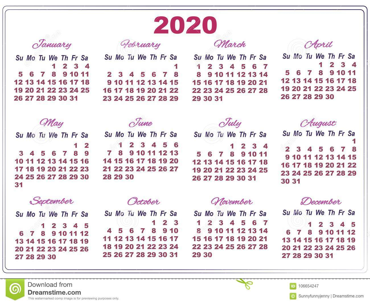 Temple Calendar 2020 2020 Calendar With Big Numbers Stock Vector   Illustration of