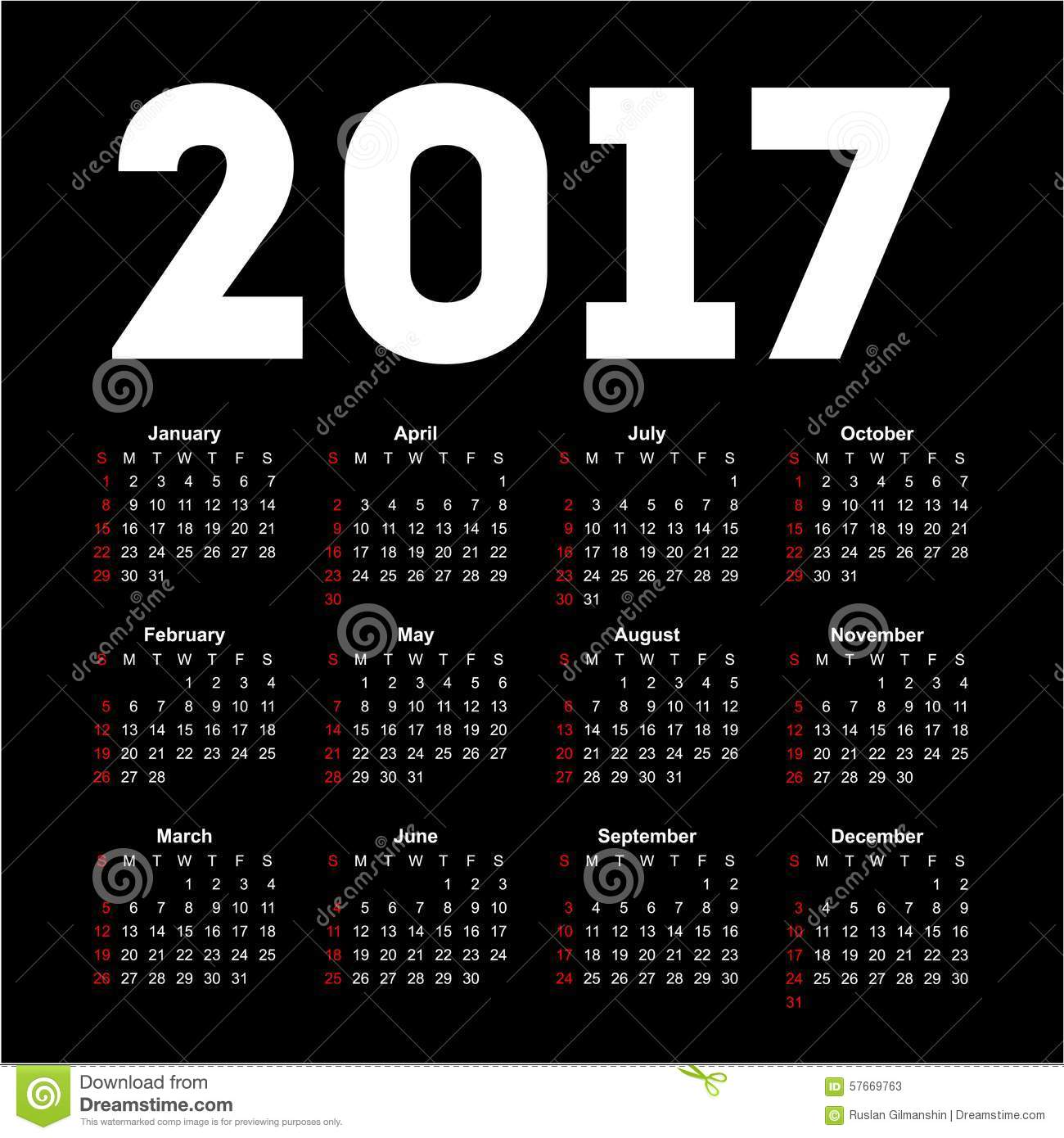 More similar stock images of ` Calendar for 2017 on black background ...