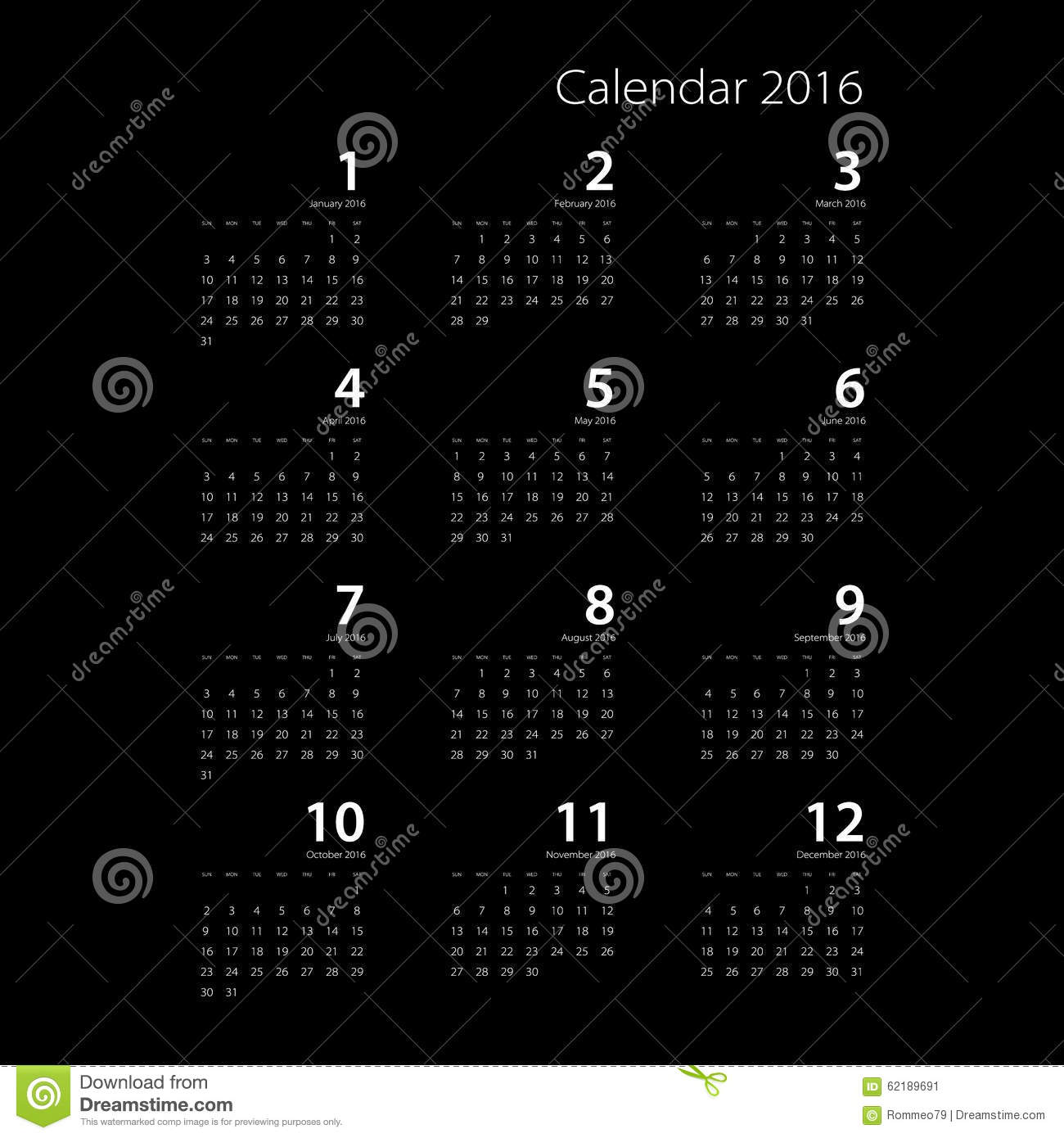 Calendar Background 2016 : Calendar for on black background vector eps stock