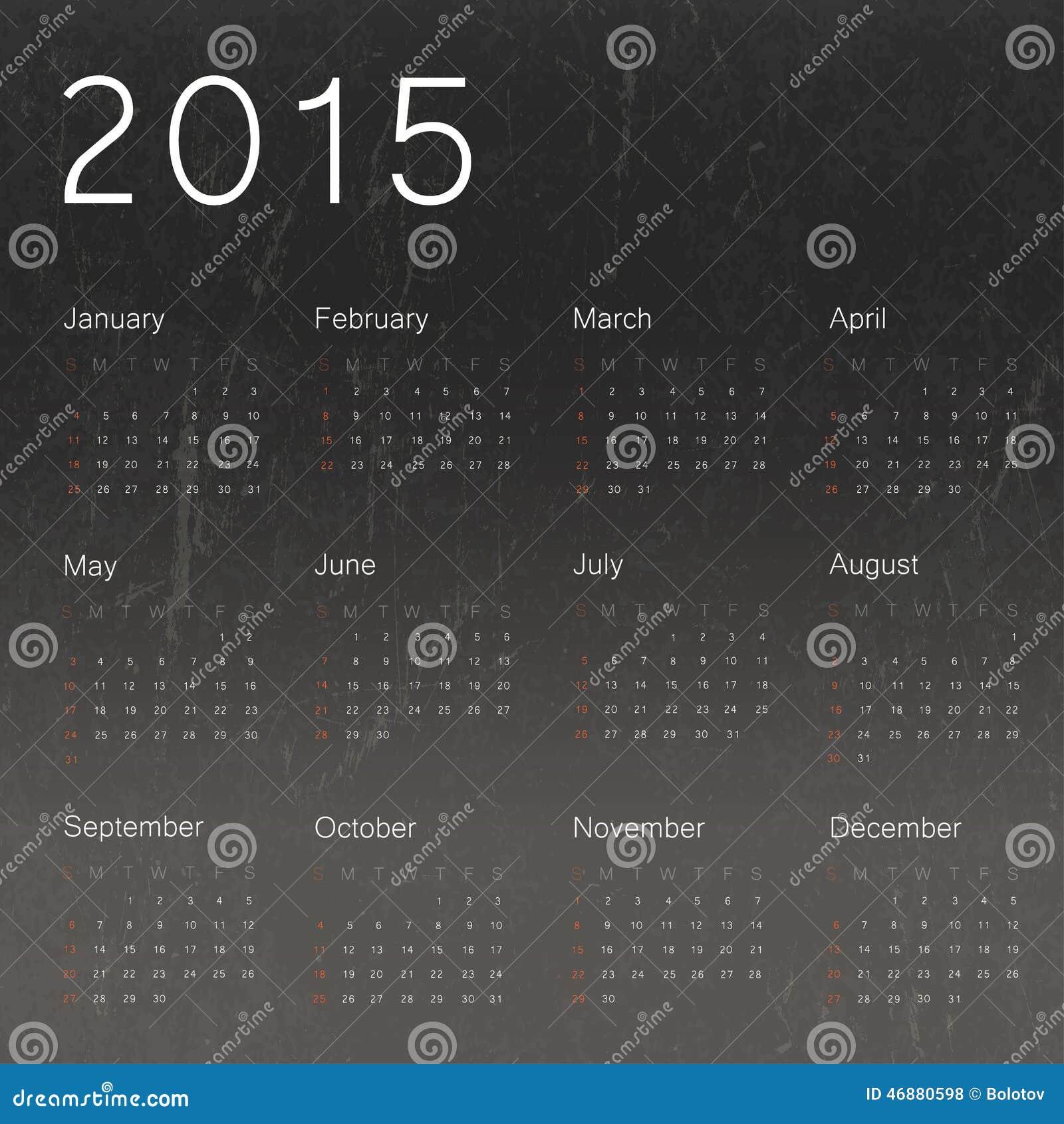 Calendar Background Vector : Calendar on black chalkboard background stock vector