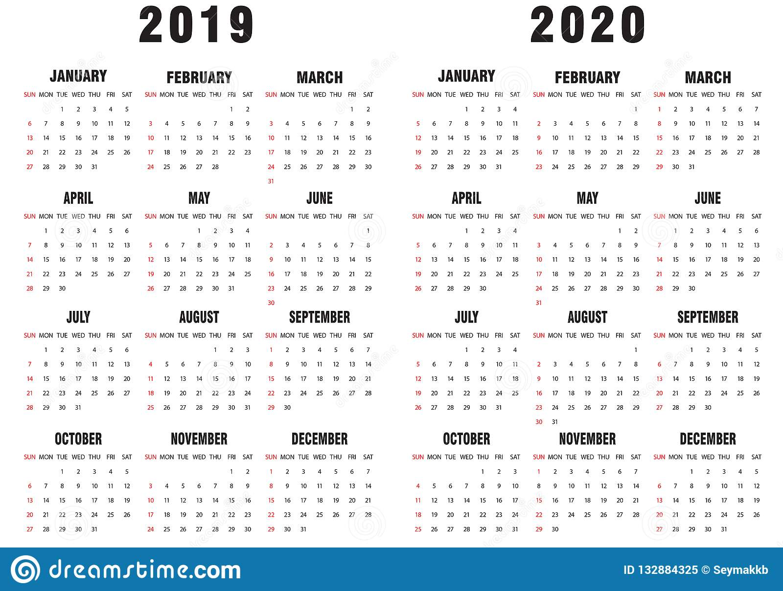 Calendario 2020 Vector Gratis.2019 2020 Calendar Black And White Stock Vector
