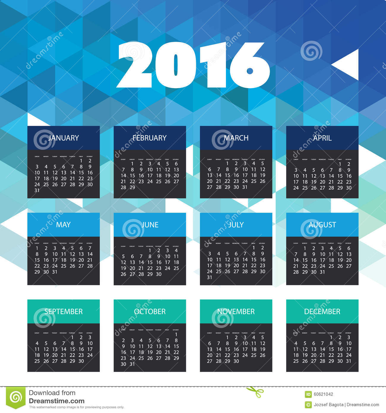 Cover Calendar Design Vector : Calendar with blue triangle geometric background