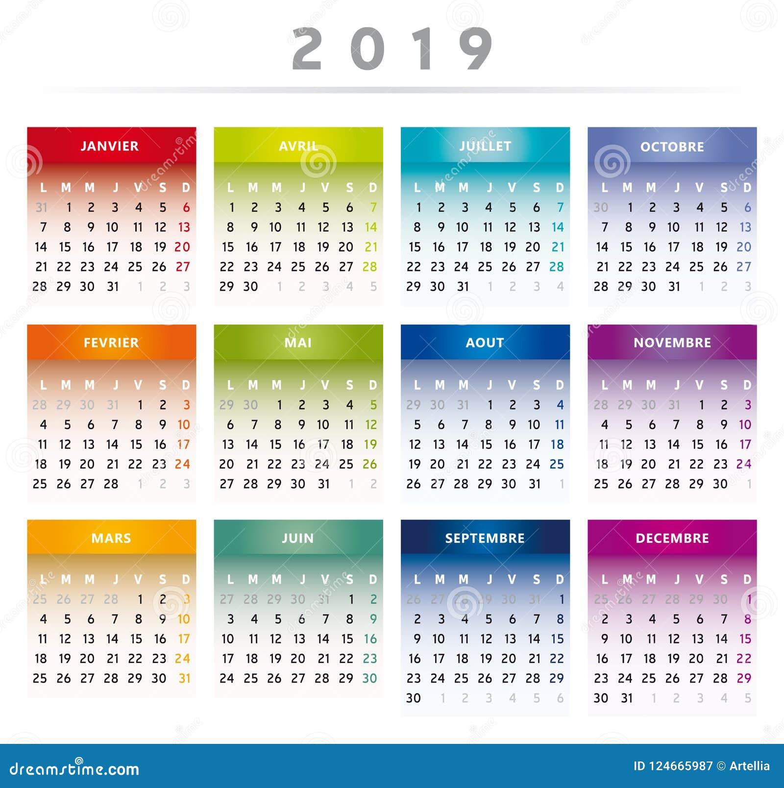 Calendario Rainbow.2019 Calendar With Boxes In Rainbow Colors 4 Columns