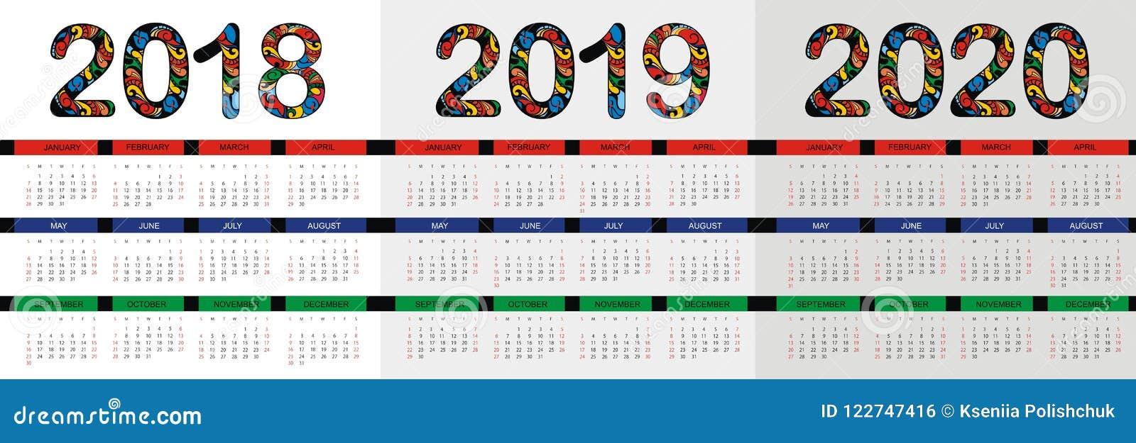 Calendario 2020 Chile Vector.Calendar 2019 2020 Business Template Stock Vector