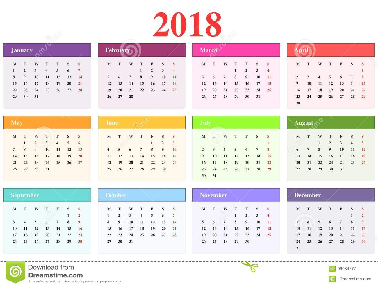 Calendar 2018 Stock Vector Illustration Of December 99084777