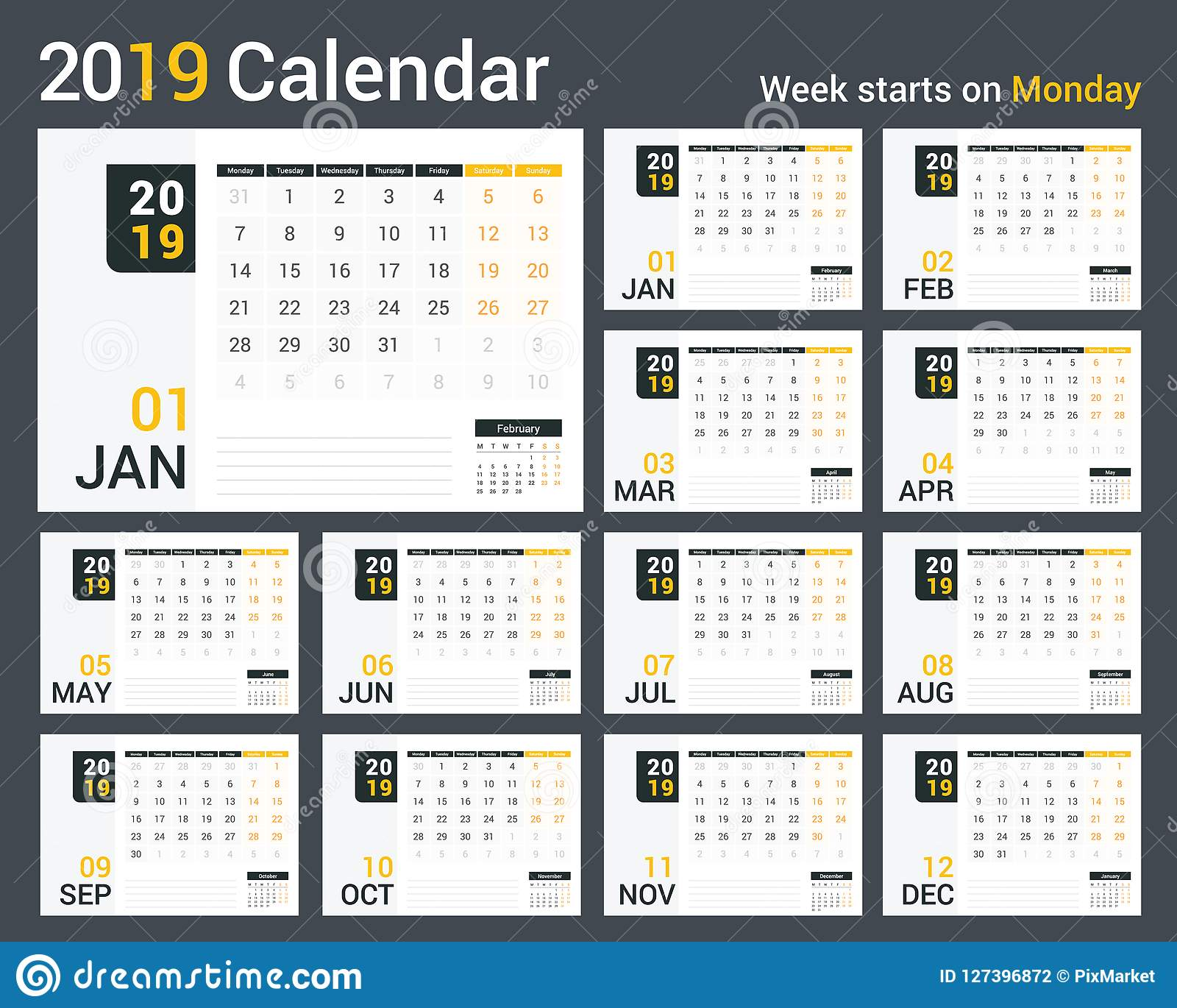 photo relating to Calendar Template for Pages named 2019 Calendar inventory vector. Example of organizer