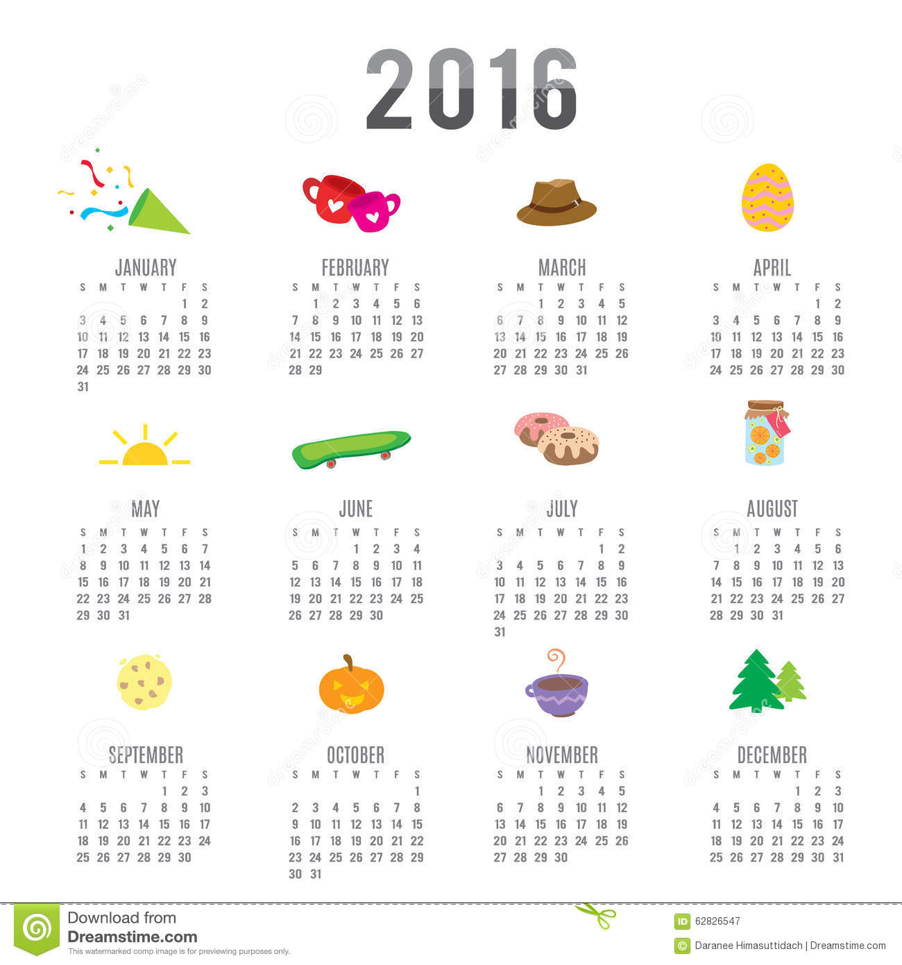 calendar 2016 cartoon cute vector stock vector