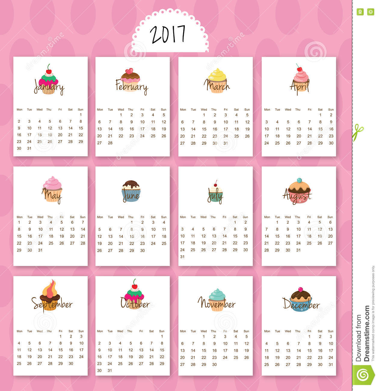 2017- Calendar Cartoon Sweets