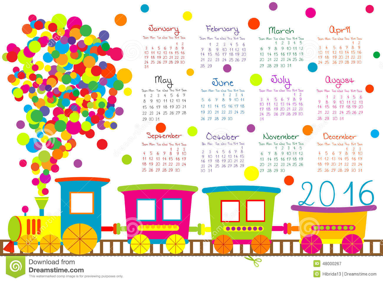 2016 Calendar With Cartoon Train For Kids Stock Vector - Image ...