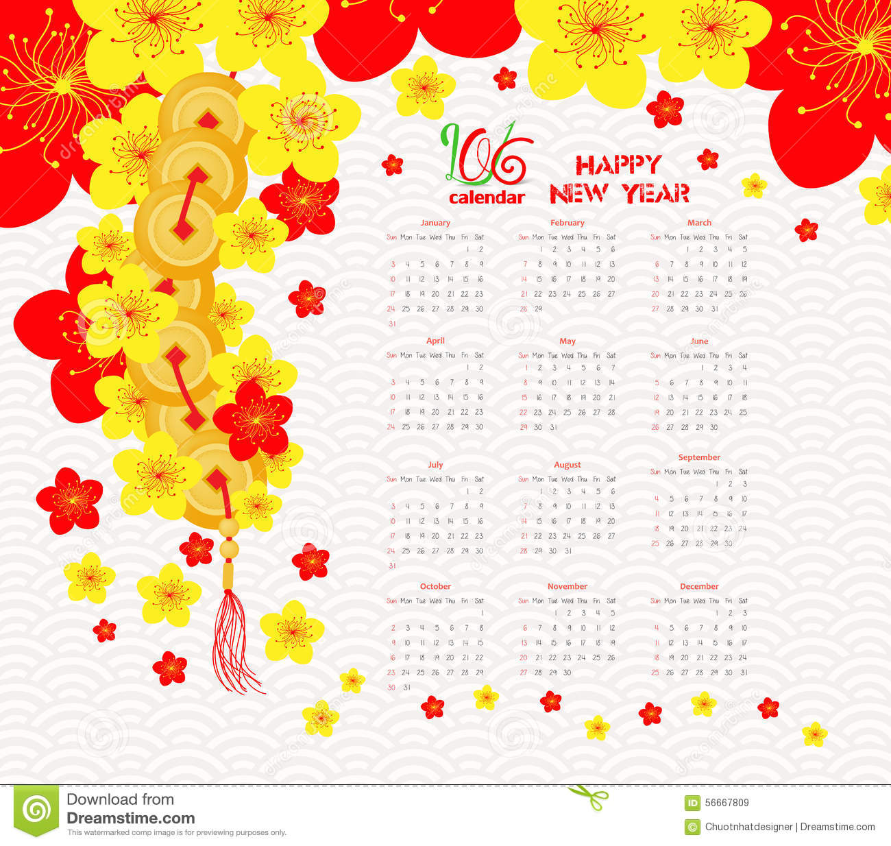 Vector Chinese Calendar Design 2016 Year Of The Monkey Vector Art ...