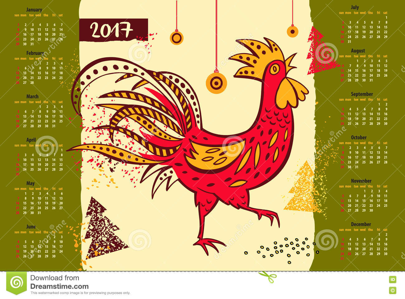 Chinese Calendar Illustration : Calendar chinese new year of the rooster stock