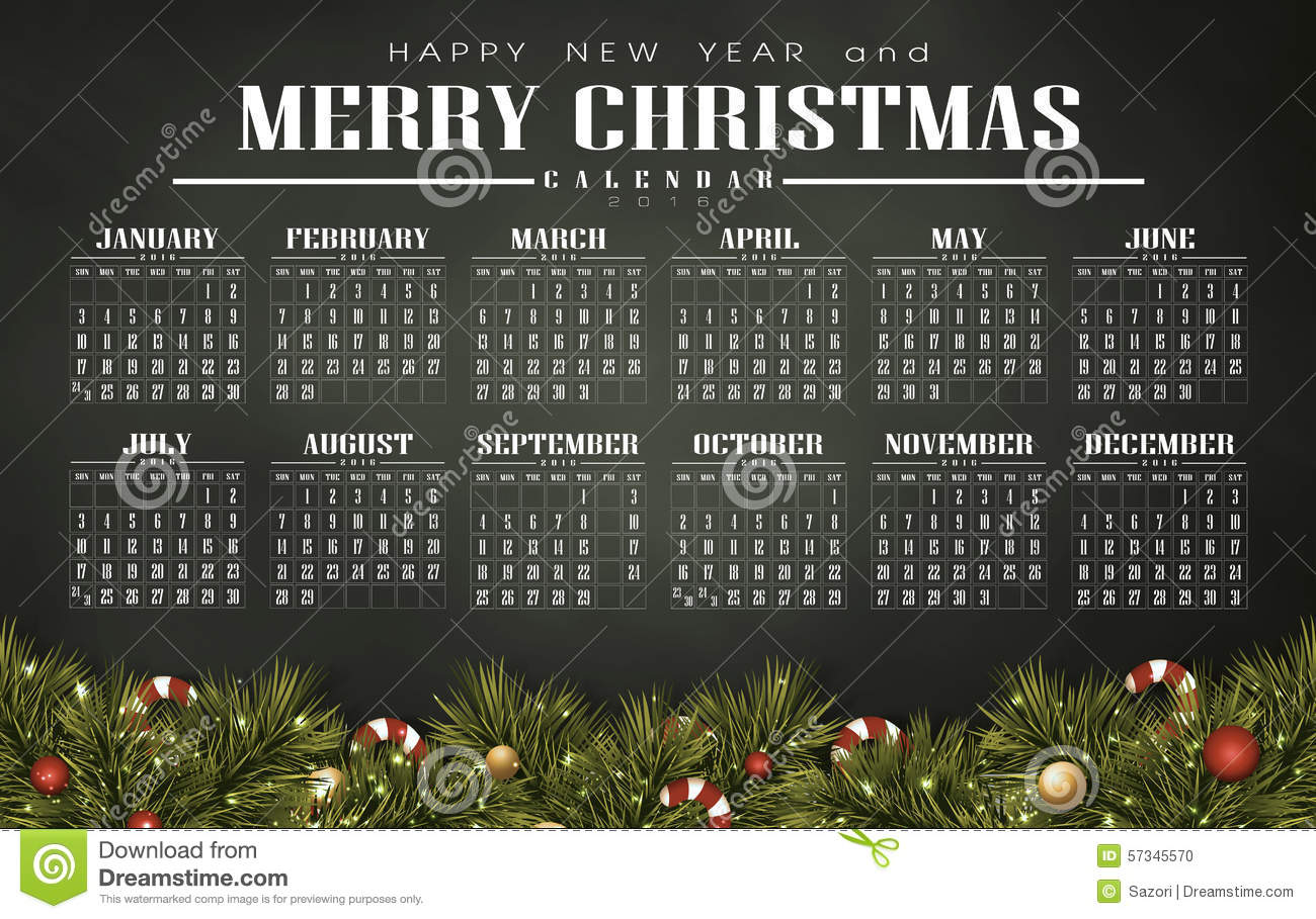 Calendar 2016 With Christmas Day Stock Illustration - Image: 57345570