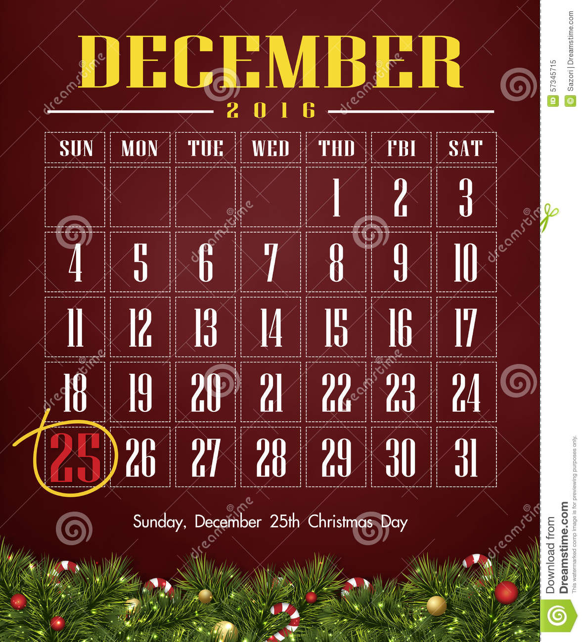 Calendar 2016 With Christmas Day Stock Illustration - Image: 57345715