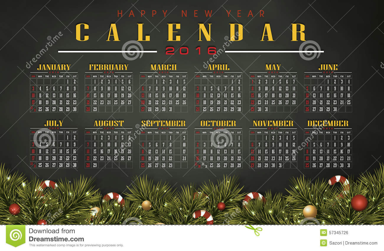 Christmas Calendar Illustration : Calendar with christmas day stock illustration