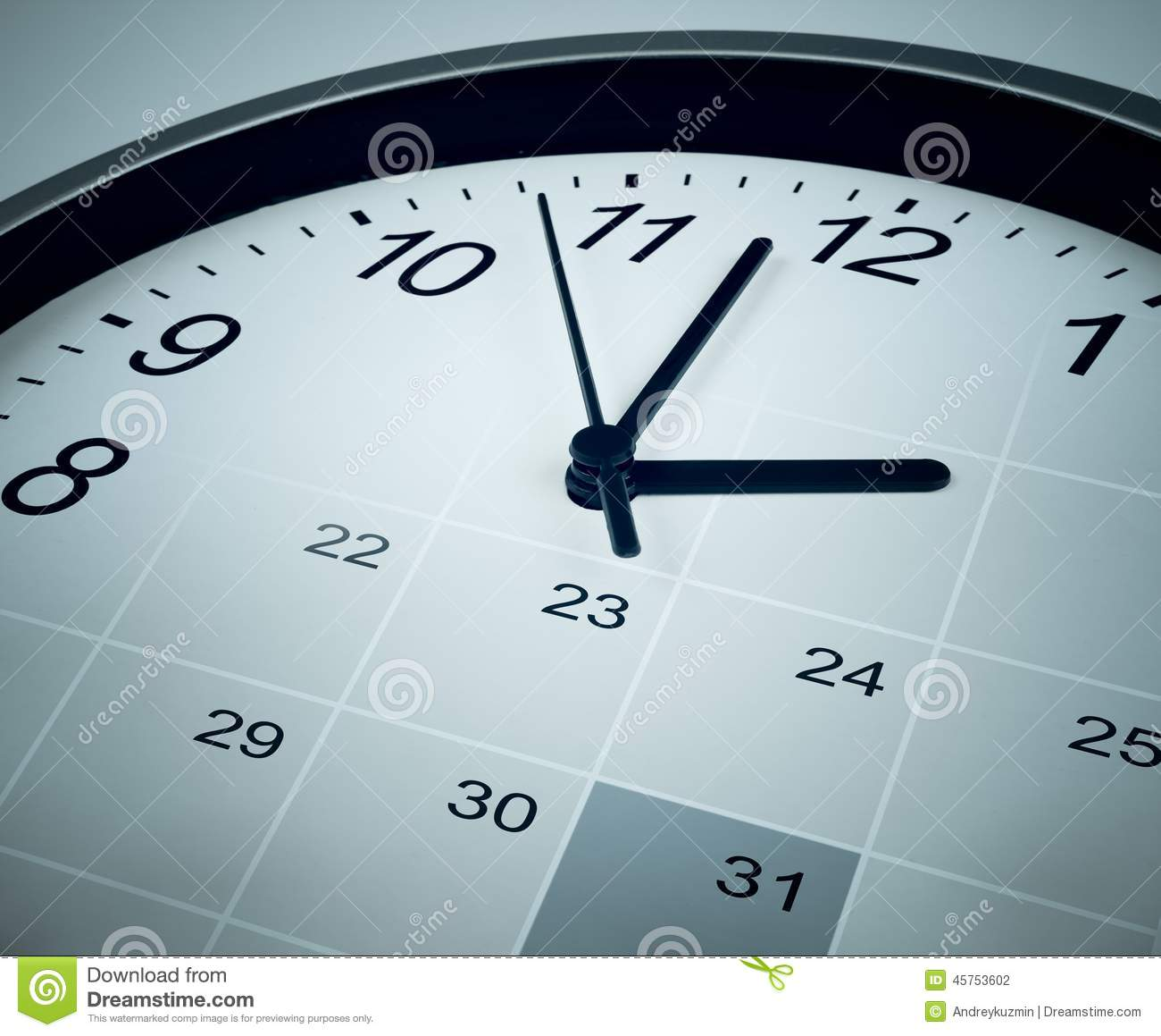 calendar and clock face  time manager and agenda stock photo