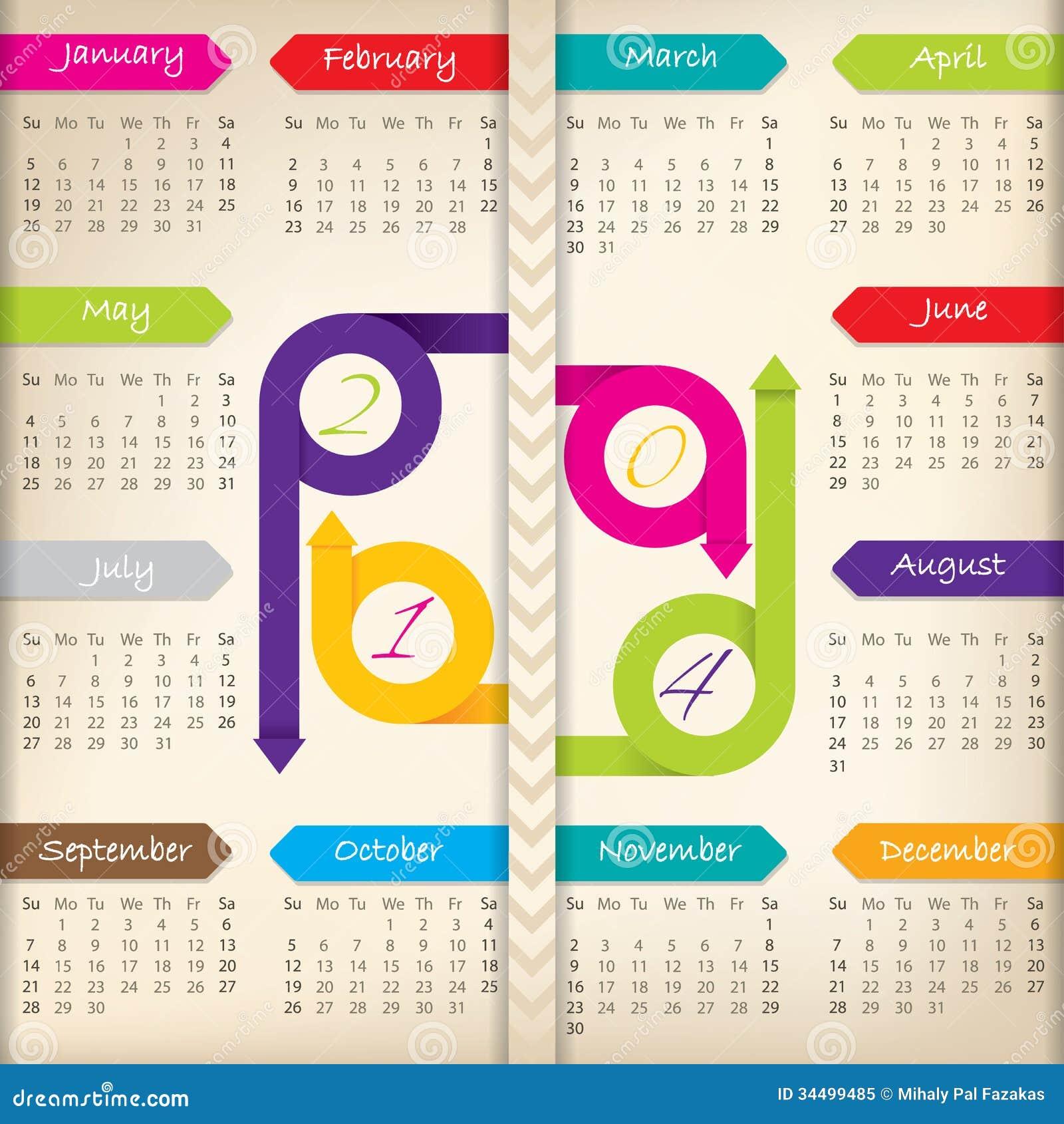 Calendar Ribbon Design : Calendar with color arrow ribbons stock vector