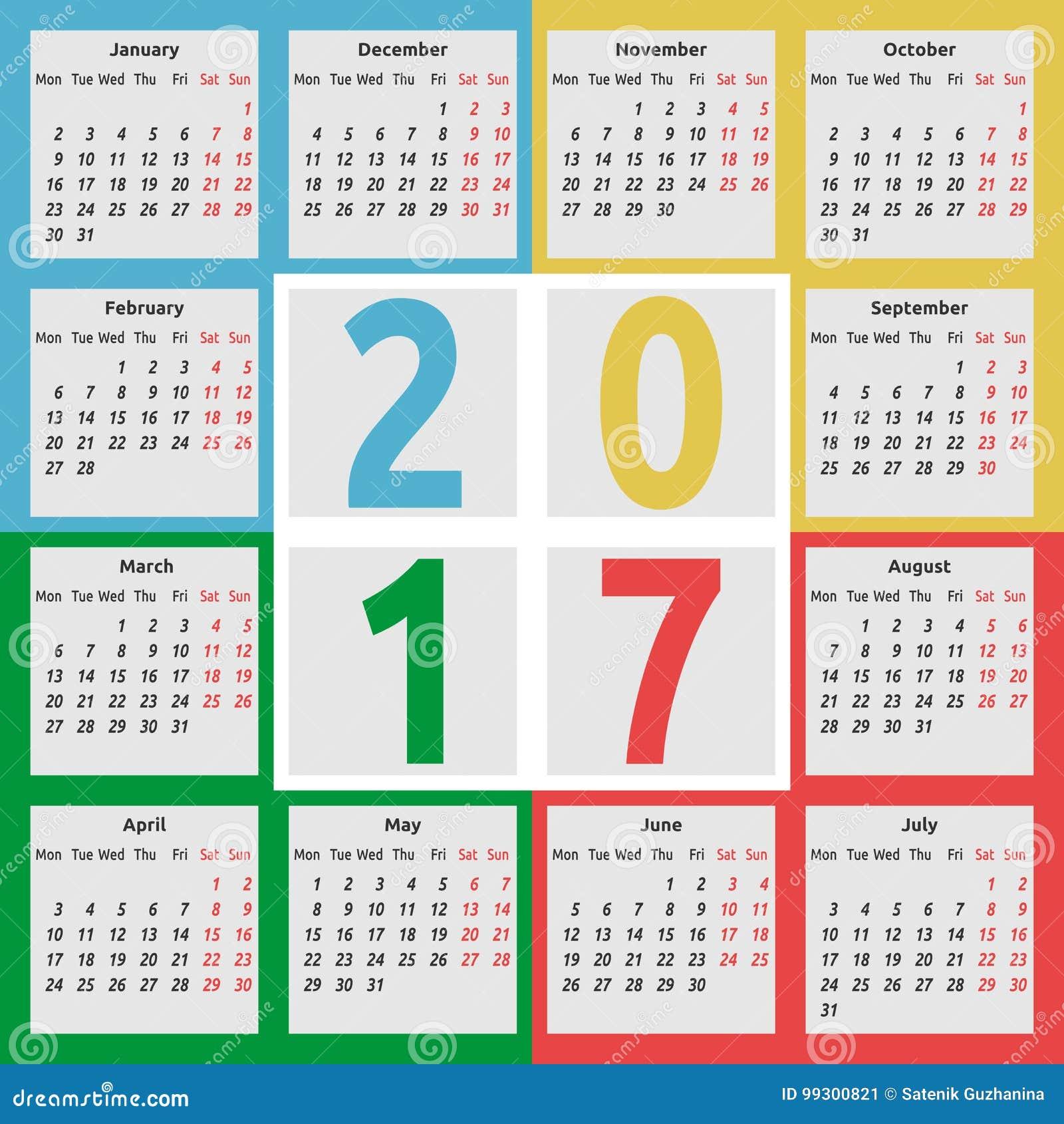 Calendar 2017, Color Seasons Stock Vector - Illustration of