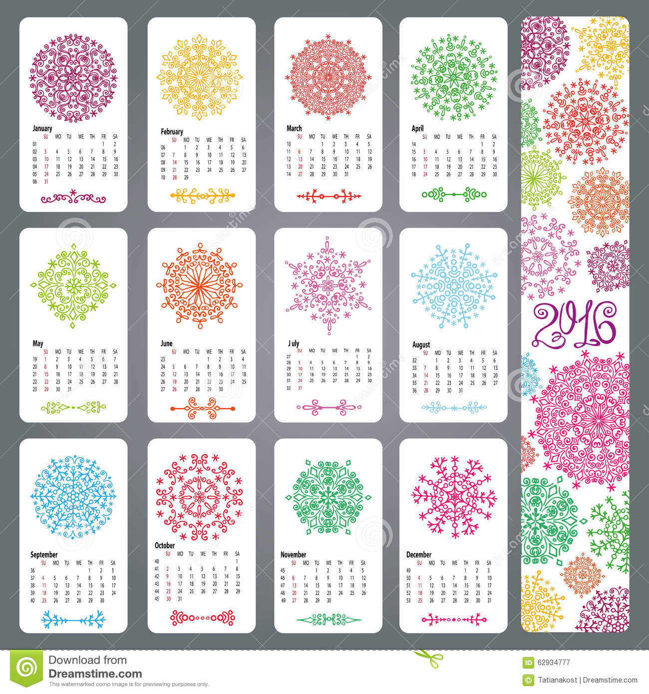 Calendar 2016 new year.Snowflakes decor,borders,dividers.Colored decor ...