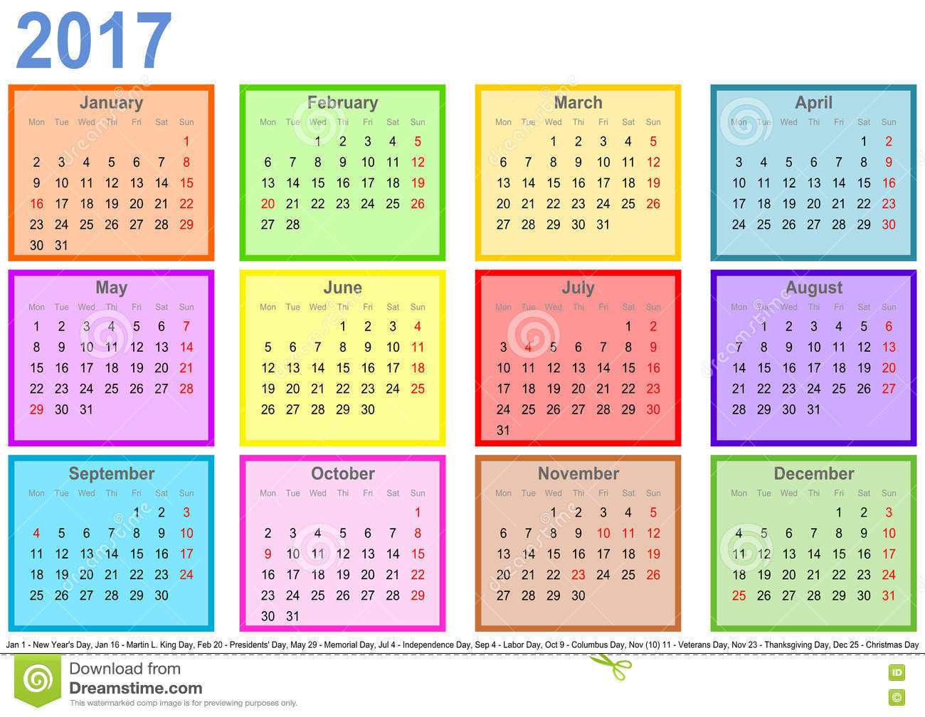 Calendar 2017 With Colorful Fields Per Month And Holidays
