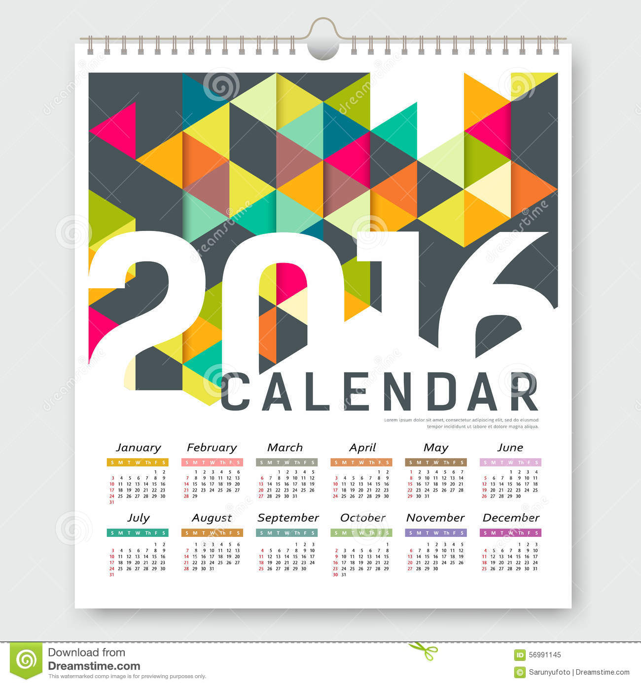Corporate Calendar Design 2016 : Calendar colorful triangle geometric design stock