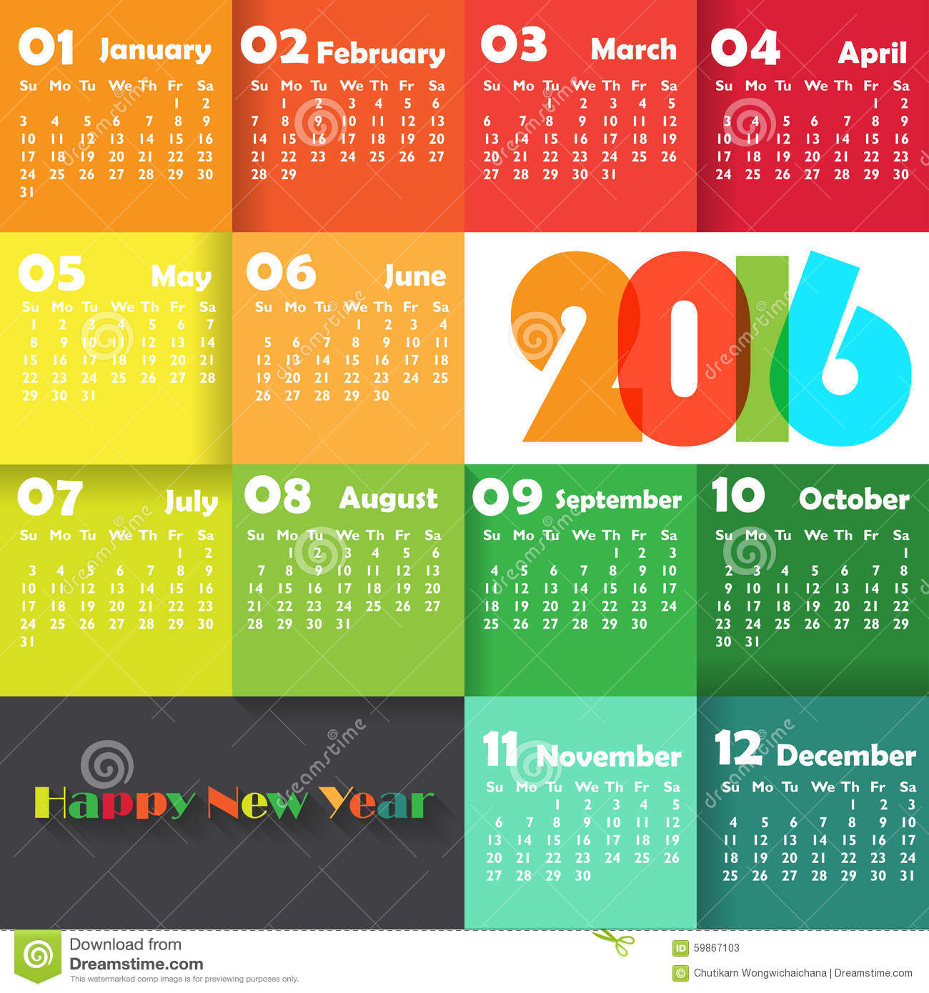 Calendar for 2016 on colourful Background. Week Starts Monday. Simple ...