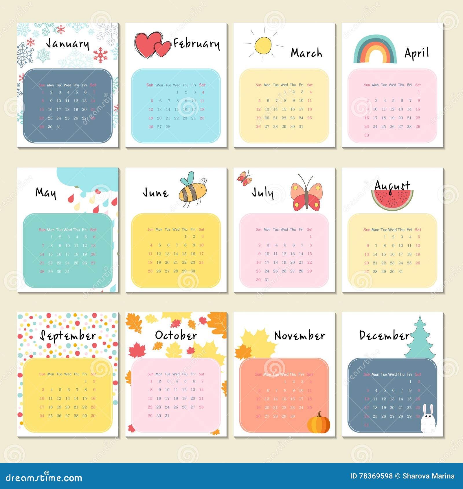 Calendar 2017 Com Animais Bonitos Insetos E Outro