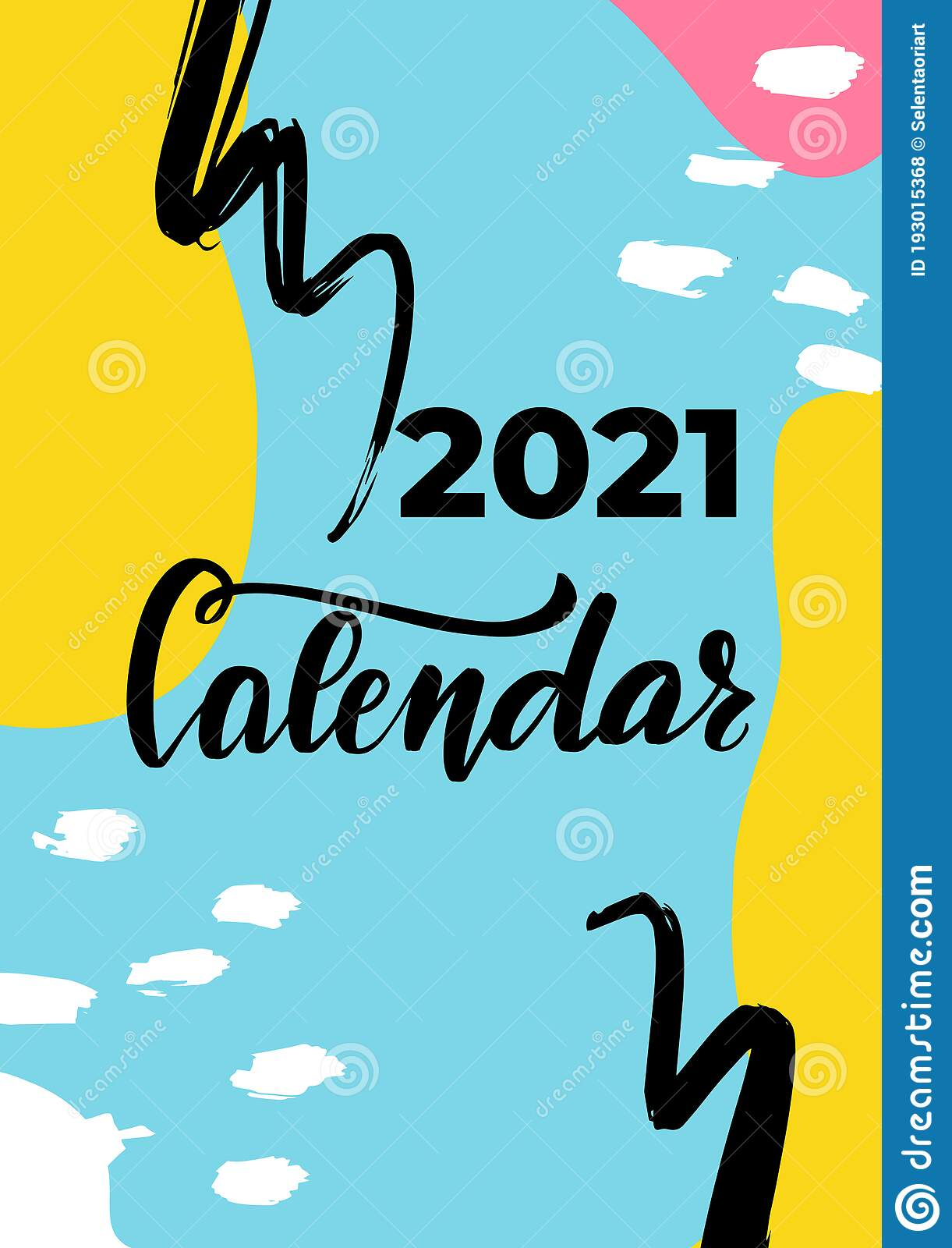 2021 Calendar Cover 2021 Calendar Cover. Vector Abstract Graphic Design. Monthly